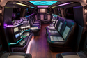 Colored lights - interior of stretch Denali limousine