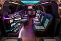 Colored lights - interior of stretch Denali limousine